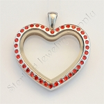 Heart Stainless Steel Floating Locket with Red Crystals