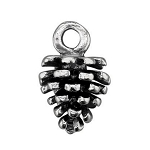 Large Sterling Silver Pine Cone Charm, 3D