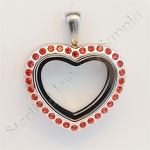 Mini Heart Stainless Steel Floating Locket with Red Crystals