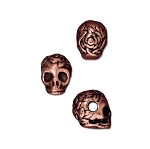 TierraCast Large Hole Rose Skull Bead, Antique Copper