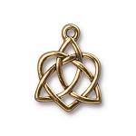 TierraCast Small Celtic Open Heart Drop, Antique Gold