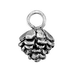 Small Sterling Silver Pine Cone Charm, 3D