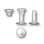 TierraCast 6mm Compression Rivets, Bright Silver Plated Brass, Package of 10
