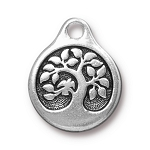 TierraCast Bird in a Tree Drop, Double-Sided Antique Silver