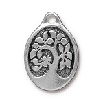 TierraCast Bird in a Tree Pendant, Double-Sided Antique Silver