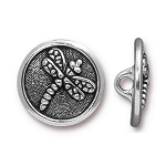 TierraCast Dragonfly Button, Antique Silver