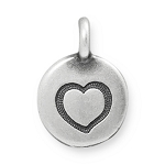 TierraCast Heart Charm, Antique Silver