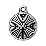 TierraCast Labyrinth Drop, Double-Sided Antique Silver