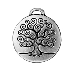 TierraCast Tree of Life Pendant, Double-Sided Antique Silver