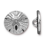 TierraCast Sand Dollar Button, Antique Silver