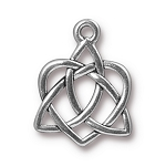 TierraCast Small Celtic Open Heart Drop, Antique Silver