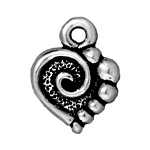 TierraCast Spiral Heart Charm, Antique Silver