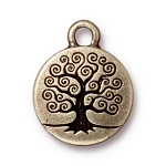 TierraCast Tree of Life Drop, Double-Sided Brass Ox