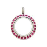20mm Fuchsia Crystal Twist Stainless Steel Floating Locket