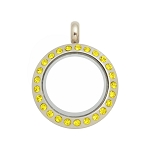 20mm Citrine Crystal Twist Stainless Steel Floating Locket