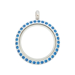 25mm Capri Blue Crystal Twist Stainless Steel Floating Locket