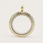 25mm Magnetic Gold Stainless Steel Floating Locket with Crystals