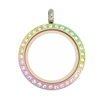 25mm Magnetic Multicolor Stainless Steel Floating Locket with Crystals