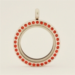 25mm Red Crystal Magnetic Stainless Steel Floating Locket