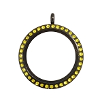 30mm Citrine Crystal Twist Black Stainless Steel Floating Locket