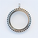 30mm Black Crystal Twist Stainless Steel Floating Locket