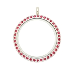 30mm Fuchsia Crystal Twist Stainless Steel Floating Locket