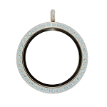 30mm Aquamarine Crystal Magnetic Stainless Steel Floating Locket