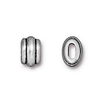 TierraCast Small Deco Barrel Bead, Antique Silver