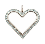 Sharp Heart Stainless Steel Floating Locket with Aquamarine Crystals