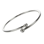 Sterling Silver Twist Bangle Bracelet with Ball Ends