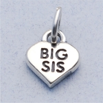 Sterling Silver Big Sis Heart Charm
