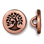 TierraCast Small Bird in a Tree Button, Antiqued Copper