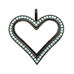 Sharp Heart Black Stainless Steel Floating Locket with Aquamarine Crystals