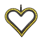 Sharp Heart Black Stainless Steel Floating Locket with Citrine Crystals