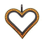 Sharp Heart Black Stainless Steel Floating Locket with Orange Crystals