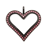 Sharp Heart Black Stainless Steel Floating Locket with Pink Crystals