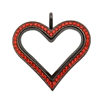 Sharp Heart Black Stainless Steel Floating Locket with Red Crystals