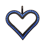 Sharp Heart Black Stainless Steel Floating Locket with Sapphire Crystals