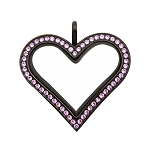 Sharp Heart Black Stainless Steel Floating Locket with Violet Crystals
