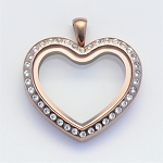 Heart Magnetic Chocolate Stainless Steel Floating Locket with Crystals
