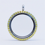 30mm Citrine Crystal Magnetic Stainless Steel Floating Locket