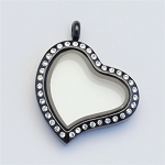 Crooked Heart Black Stainless Steel Floating Locket with Crystals