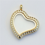 Gold Crooked Heart Magnetic Stainless Steel Floating Locket with Crystals