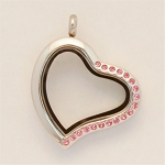 Crooked Heart Stainless Steel Floating Locket with Pink Crystals