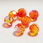 Fire Opal AB 8mm Swarovski Faceted Round, Pkg. of 6