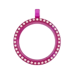 30mm Fuchsia Acrylic Floating Locket with Crystals and Matching Metal Ball Chain