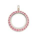 20mm Pink Crystal Twist Stainless Steel Floating Locket