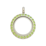 20mm Peridot Crystal Twist Stainless Steel Floating Locket