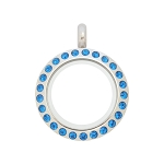 20mm Capri Blue Crystal Twist Stainless Steel Floating Locket