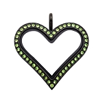 Sharp Heart Black Stainless Steel Floating Locket with Peridot Crystals